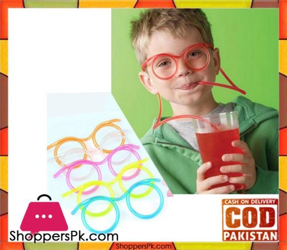 Hot! Funny Soft Plastic Straw Glasses Unique Flexible Drinking Tube Kids - Karachi Only