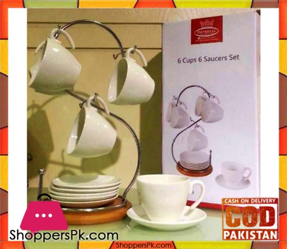 6 Pcs Mug and Saucer Set with Stand