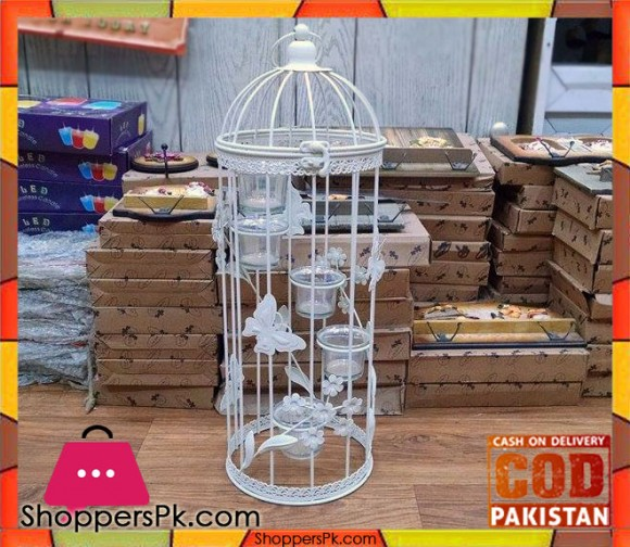 Iron Bird Cage Candle Stand (Large) 112