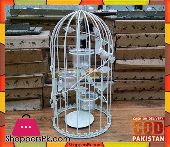 Iron Bird Cage Candle Stand (Small)