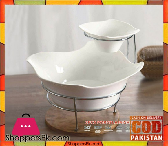 SOLECASA Porcelain 2 Pcs Bowl Set with Stand