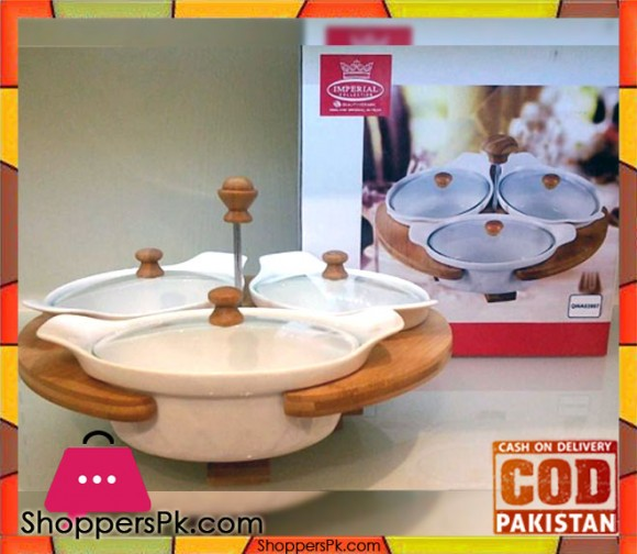 Imperial 3 Pieces Serving Dish Wooden With Stand