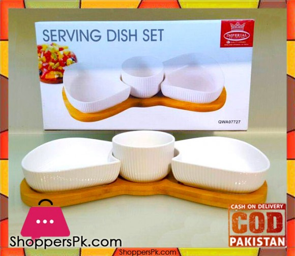 Imperial 3 Pieces Serving Dish With Bamboo Wooden Stand