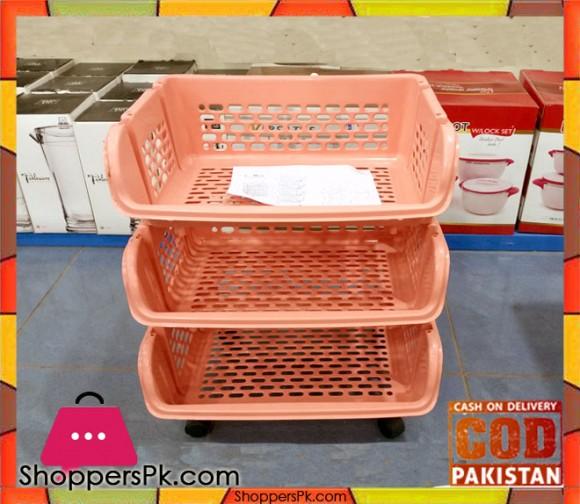 Plastic 3 Tier Basket Trolley Q22