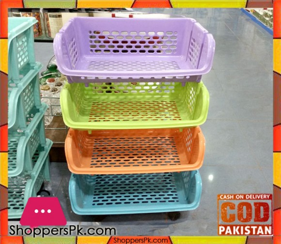 Plastic 4 Tier Basket Trolley QS2