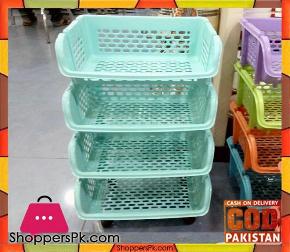Plastic 4 Tier Basket Trolley QS1