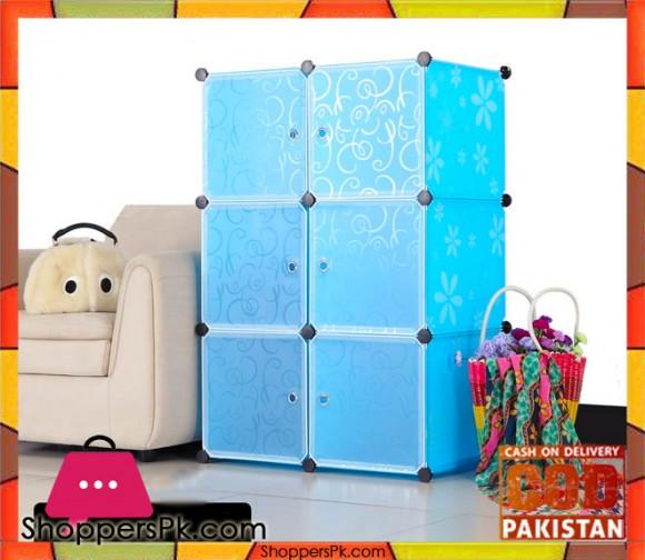 6 cube DIY PP Plastic Shelf Clothes Cabinet