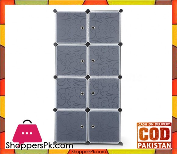 8 Cube DIY PP Plastic Shelf Clothes Cabinet