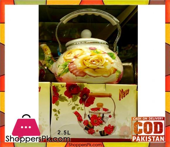 Ceramic Flower Print Tea Kettle 2.5 Litre