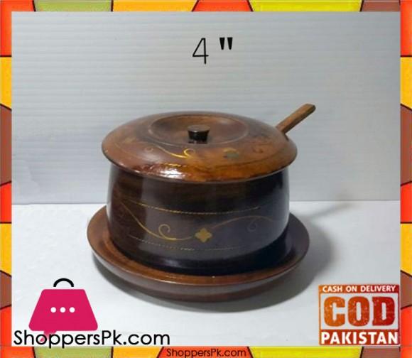 Wooden Brass Work Sugar Pot 4 Inch