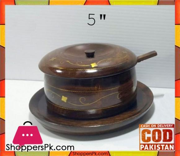 Wooden Brass Work Sugar Pot 5 Inch
