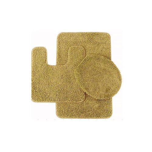 Set of 3 - Bath Mat, Contour & Toilet Lid Cover - Golden