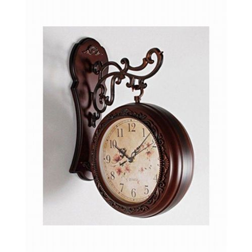 Double Sided Wall Clock - Brown