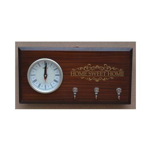Hartco Clock - Wooden Brown -Key Hanger