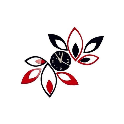 Creative Red & Black Rhombus Leaves Diamonds Acrylic Wall Clock - Black & Red