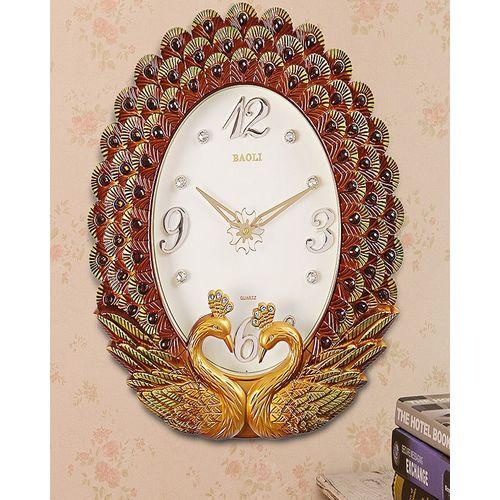 wall clock peacock brown