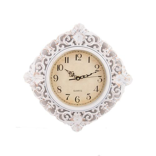 Flower Pattern Wall Clock - White - 12x12""