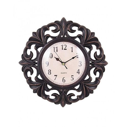 "Flower Pattern Wall Clock 15x15"" - Black"