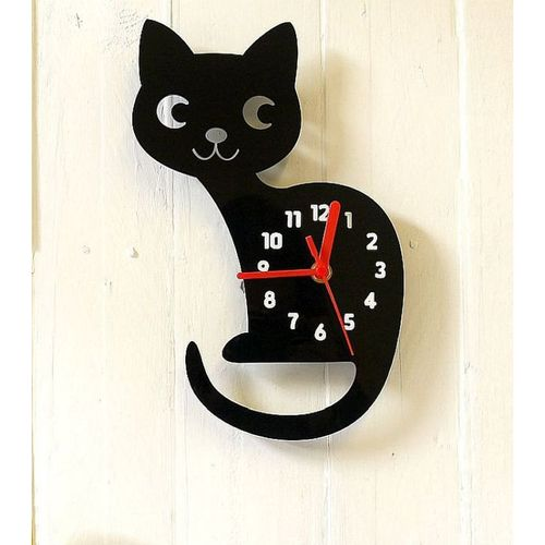 Cat Clock - Black