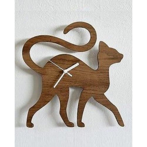 Wooden Cat Shaped Clock for Kids Room