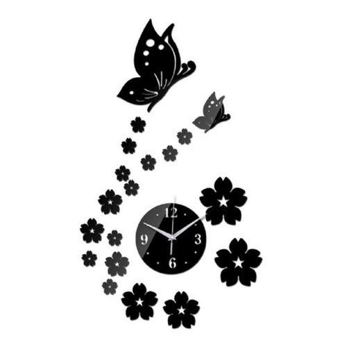 Butterfly & Flower Design Wall Clock - Black