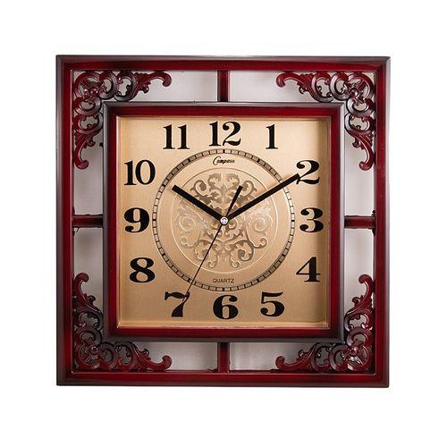 "Stylish Golden Center Dial Wall Clock 15x15"" - Maroon"