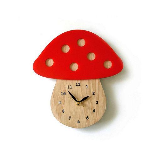 Mushroom Shaped Wooden Wall Clock