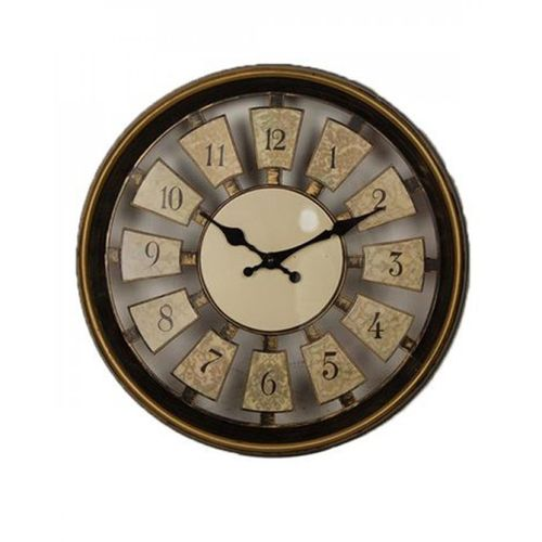 "Gold Shaded Wall Clock - 12x12"" - Black"