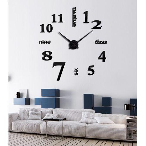 3d Acrylic Real Wall Clock Mirror Sticker - Black