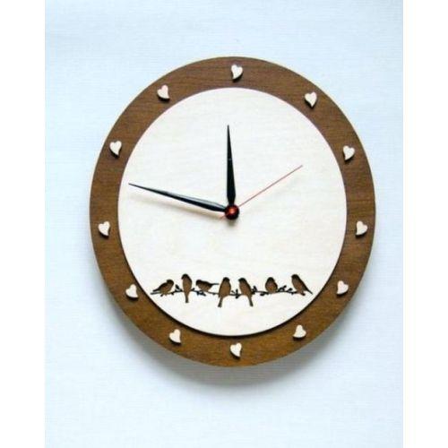 Wooden Bird And Heart Pattern Round Wall Clock