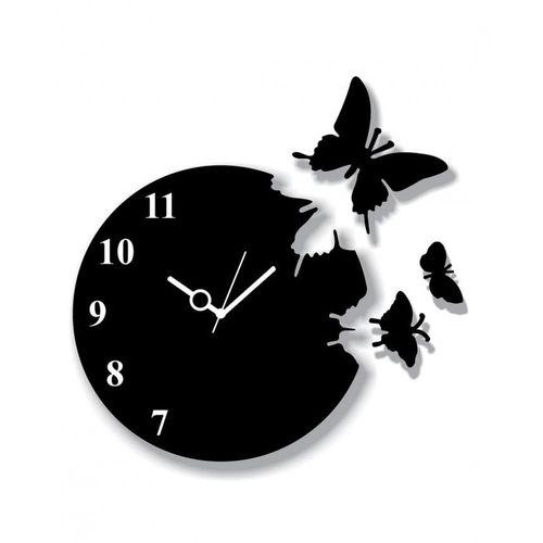 Flying Butterflies Wall Clock - Black
