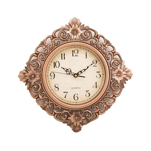 """Floral Pattern Wall Clock With Bronze Finish - 12x12"""""""