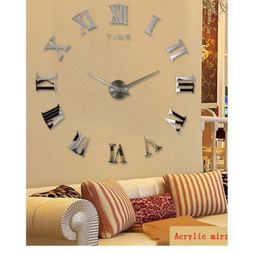 GIANT WALL CLOCK ROMAN- SILVER