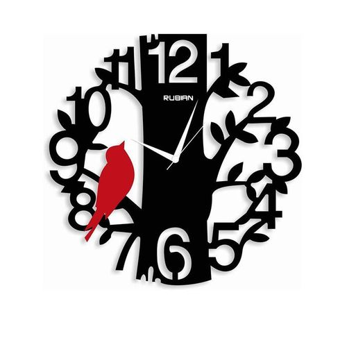 RUBIAN - Sparrow On Tree WallClock - Black & Red