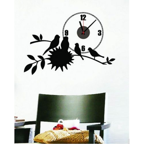 Bird & Nest Wall Clock - Black