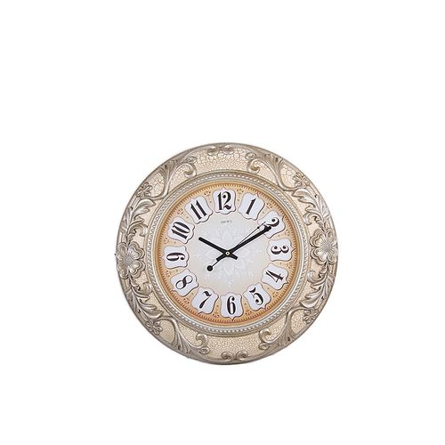 1032 - Printed & Embossed Structured Centre Beige Dial Wall Decor Clock