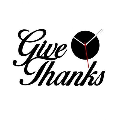 Give Thanks Wall Clock - Black