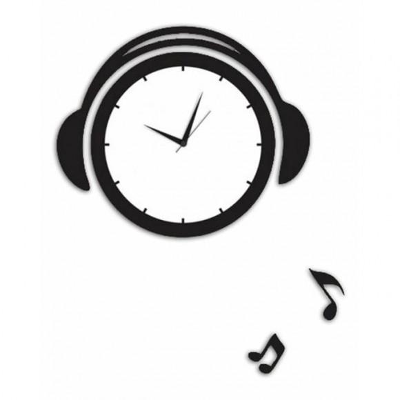 Headphones Wall Clock - Black