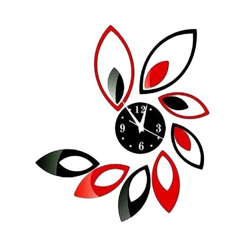 Leaves Design Wall Clock - Red & Black