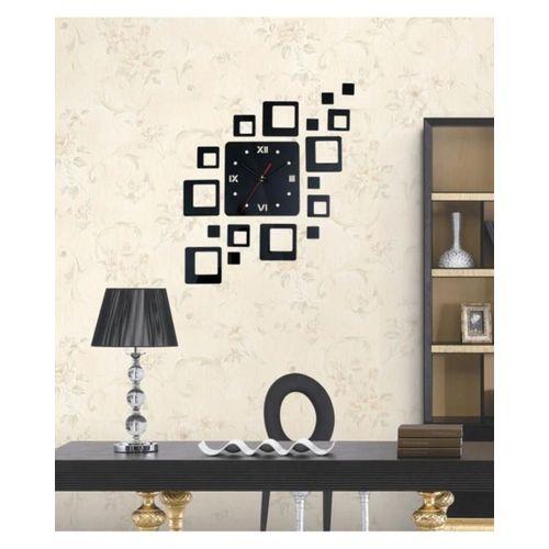 Floating Squares Design Wall Clock - Black