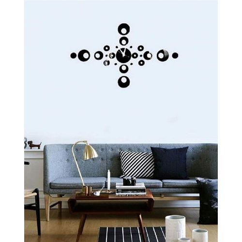 Decorative Circles Wall Clock - Black