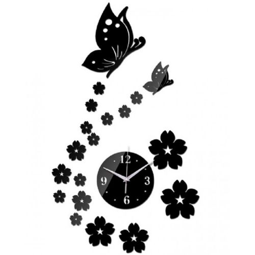 Butterfly & Flower Wall Clock - Black
