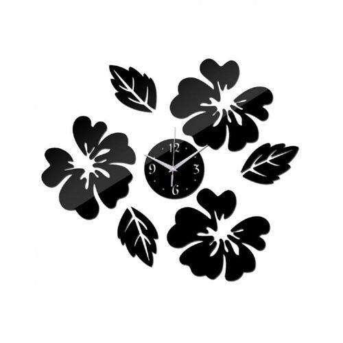Decorative Leaf Design Wall Clock - Black