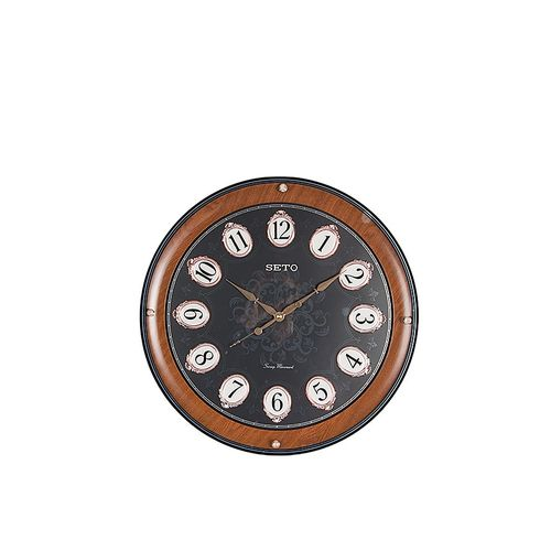 PWC-196B - Double Plated Structured Embellished Dial Numbers Wall Decor Clock