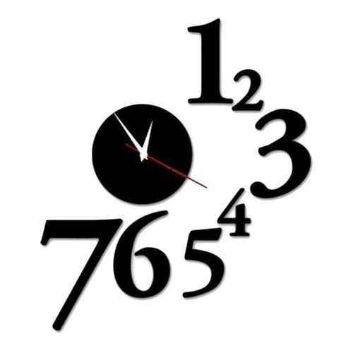 3D Fancy Wall Clock - Black