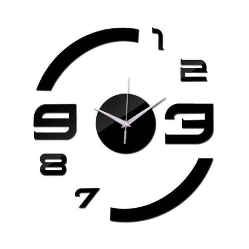 Half Number Design Wall Clock - Black