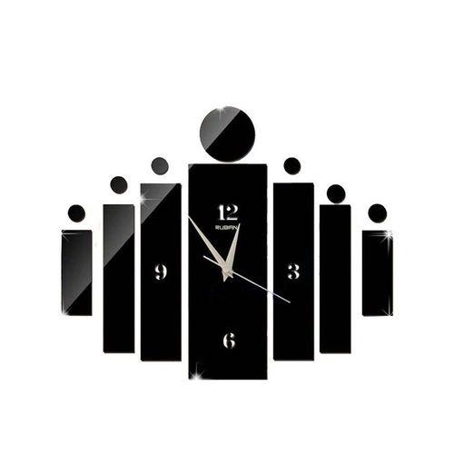 Blocks Design Wall Clock - Black