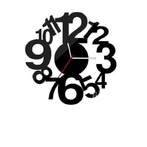Multi Numeric Wall Clock - Black