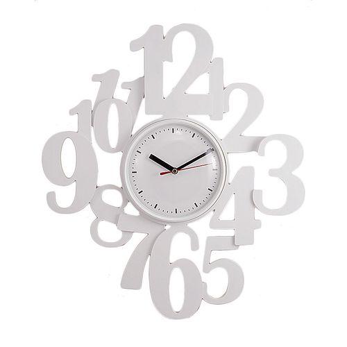 "Stylish Numbers Wall Clock - 16""x16"" - White"