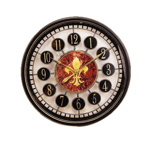 """Classic Shiny Black Vintage Wall Clock With Golden Numbers- 12x12"""""""